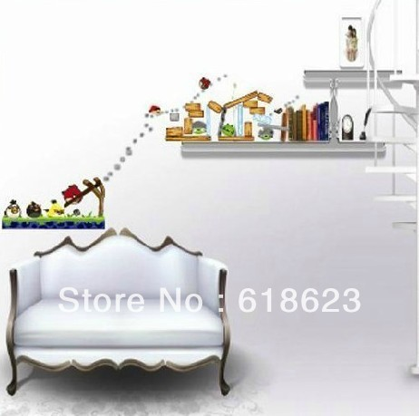 Wholesale 10pc/lot DIY birds cartoon wall sticker kids rooms decor Sofa background pvc sticker removable XY8003(China (Mainland))