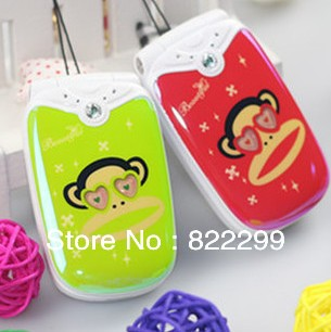 Newest Super Fashional Monkey 1.3MP Camera Personal Filip Pocket Used Mobile Phone for Child Free Shipping(China (Mainland))