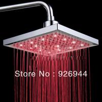 Quality  LED Square shower head Nice shower arm chrome mixer rainfall  shower ~Free shipping