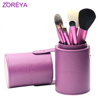 free shipping zoreya Barrelled  7pcs/set cosmetic  loose powder brush with four color:black,green,pink and purple