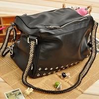 Free shipping Bags 2012 women's fashion handbag fashion vintage rivet bag bucket bag one shoulder cross-body women's handbag