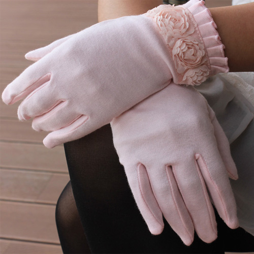 2013 summer sunscreen gloves slip-resistant breathable cutout rose decoration gloves(China (Mainland))