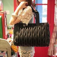 Free shipping Fashion casual pleated fashion bow women's handbag fashion vintage one shoulder women's handbag big bag