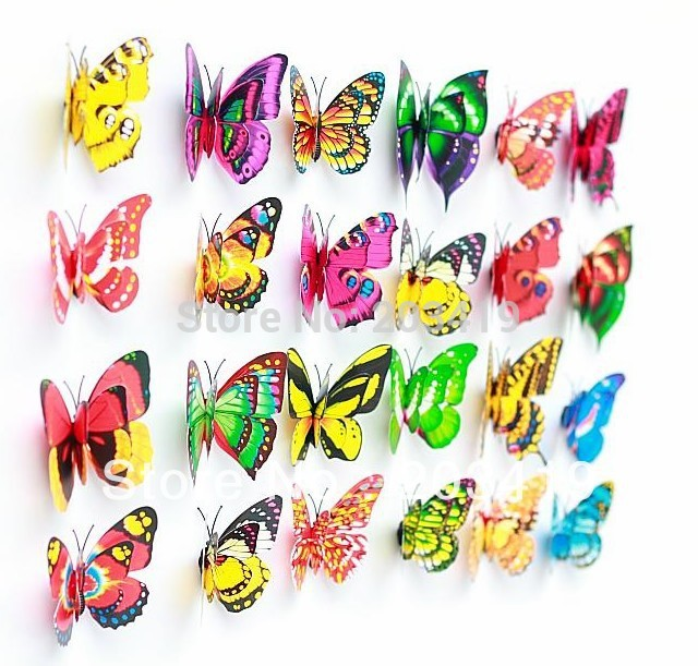 drop shipping 7cm Vivid double-deck wings Butterfly Fridge Magnet safety clasp brooch pins for Home Decor wedding party gift(China (Mainland))