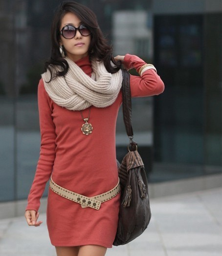 Priced Direct 2013 New autumn outfit Korean thanks turtleneck dress bodycon(China (Mainland))