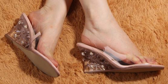 Sexy Vogue Women PVC Crystal Wedge Sandals Rivets Spike High Heel Pump 2013 Designer Shoes(China (Mainland))