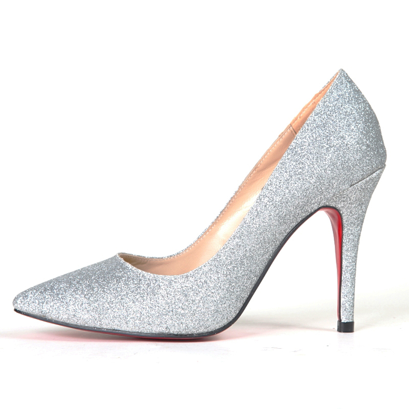 2013 fashion star style silver paillette cloth sexy thin heels pointed toe high-heeled single shoes high-heeled shoes women's(China (Mainland))