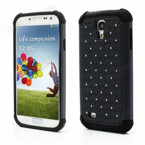 10PCS Studded Rhinestone Silicone Plastic Hybrid Skin Case Cover Protector for Samsung Galaxy S IV S4 i9500 i9505 free shipping(China (Mainland))