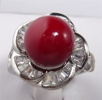Free shipping Fashion Korea jewelry for women Silver plated flower Red Sea Shell Pearl Round  Rings