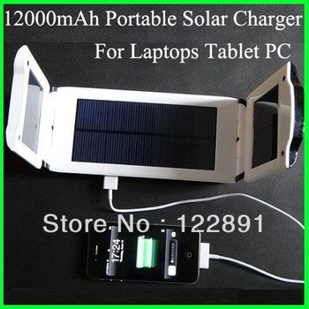 Foldable Solar Charger for Laptop/notebook solar cell phone charger Tablet PCs etc Mobile Power Bank 12000 mah Free Shipping