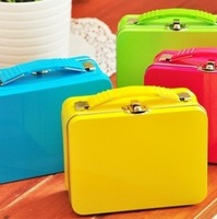 Candy color suitcase style storage tin box 4 140g