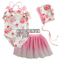 Free Shipping (5pcs/lot) Lovely Bow Baby Toddler Girls Swimwear Bikini Child Swimsuit Cute Girls Two-piece Swimsuit Dress