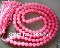 Buddhist 108 Pink Mala Jade Necklace Prayer Beads 8mmFashion jewelry