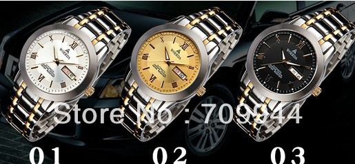 WOERDA Smooth Dial Roman/Stick Markers Silver Case SS Strap Automatic Men's Watch Black Silver Golden(China (Mainland))
