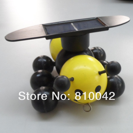 Wooden Toy Bees+Solar Toys No Battery Needed+Green Power Gifts/Novel Design+Decoration For Room/Garden 100pcs/lot Free Shipping(China (Mainland))
