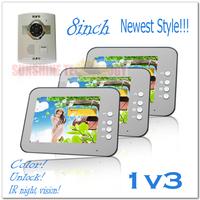 Newest style 8inch color video door phones intercom systems (Unlock,Handsfree,Night vision) 3 indoor units + 1 outdoor unit