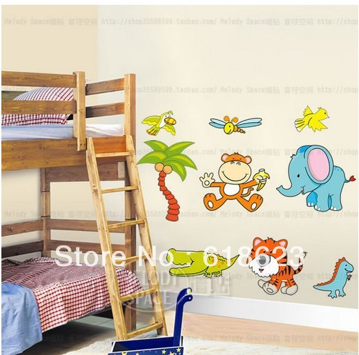 Wholesale 5pc/lot DIY Animal cartoon wall sticker kids rooms decor Sofa background pvc sticker removable XY8052(China (Mainland))