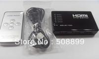 Free shipping 5 Port Mini HDMI Splitter Switch Switcher Box Selector +Remote Control DVD 1080P