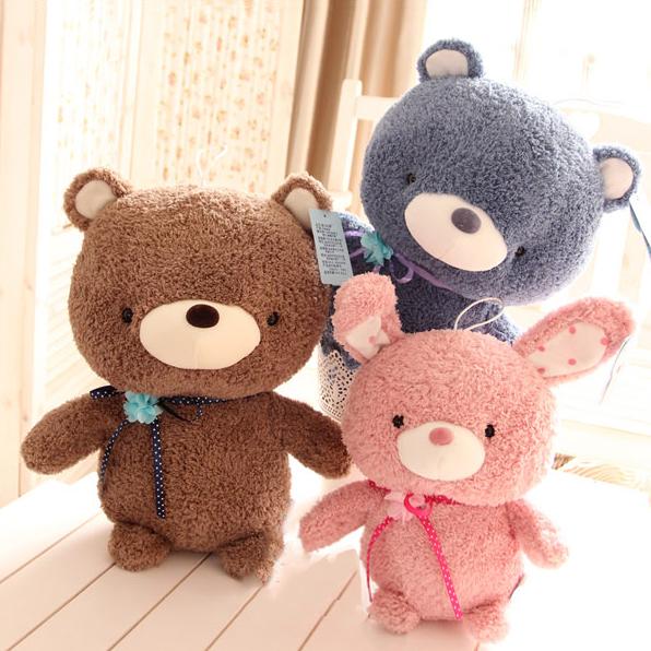 Pernycess cute Ted + rabbit lovely plush bear lovers dolls,M, Stuffed plush baby bed dolls,amazing gifts(China (Mainland))