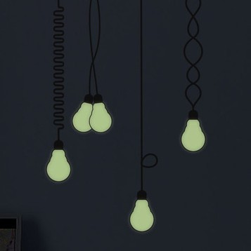 Free shipping Novelty! Home Wall Glow In The Dark Old Bulb Wall Stickers Home Decal(China (Mainland))