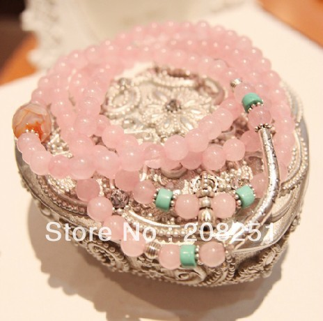 Free shipping famous brand strech mix blue turquoise and pink crystal natural stone beads handmade multilayer beads bracelet(China (Mainland))