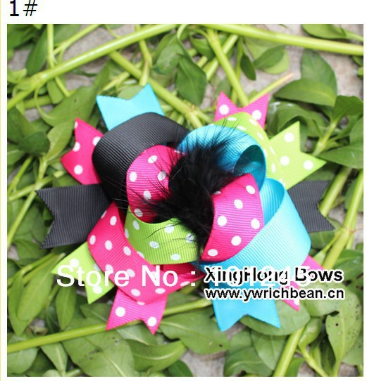 Free shipping Top Sale Feather Printed dots printed picture kid's hair bows clips fashion ribbon flower(China (Mainland))