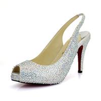 2014 top fasion hot sale open toe high quality red bottoms heel pump dresses shoes sole cz diamond pumps heels 9cm 2cm platform