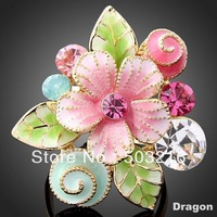 High Quality Austrian Crystal 18 K Gold Plated Newest Design Fashion Pink Flower Ring