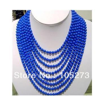 Hot Sale Gem Stone Jewelry 6MM 8Rows Blue Color Round Beauty Lapis Lazuli Beads Necklace 17-24'' Fashion Jewelry New Free Ship(China (Mainland))