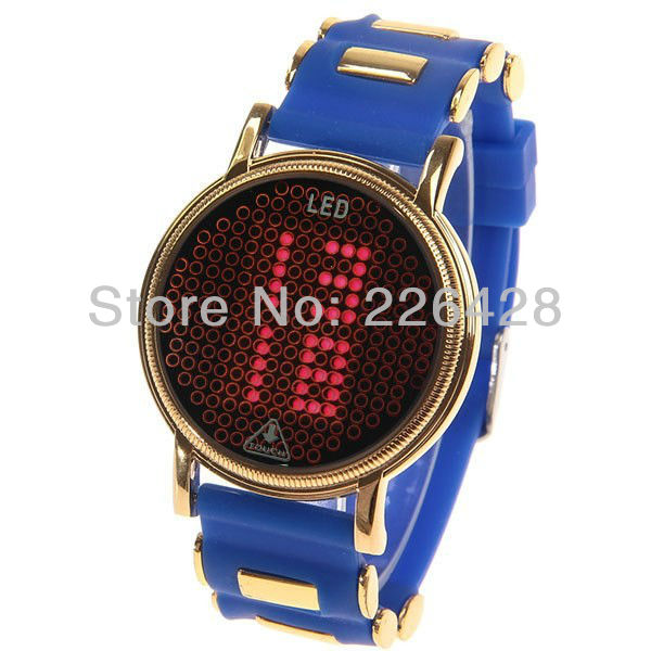 Hot JinRong Touch Screen Rubber and Metal Wrist LED Watches with Gold Case Red Digital Display Time Dial for Unisex - Blue(China (Mainland))