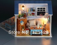 Sunshine House B 3D DIY Education Wooden Puzzle Dollhouse With Light Miniature House Building Block Set Free Shipping