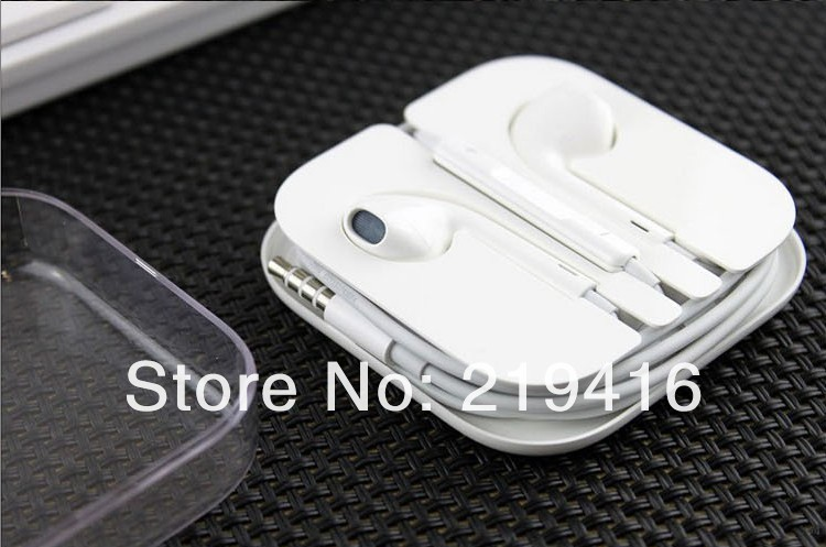 Original 3.5mm Stereo Earphone earpods For Iphone 5 ipad mini ipod touch 5 headphone with Mic+volumn control Free shipping(China (Mainland))
