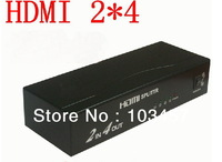 Free shipping , 4 Port 1080P Video HDMI Switch, 2 in 4out HDMI splitter, Switcher Splitter for HDTV/ PS3/ DVD/DLP/PC/DV
