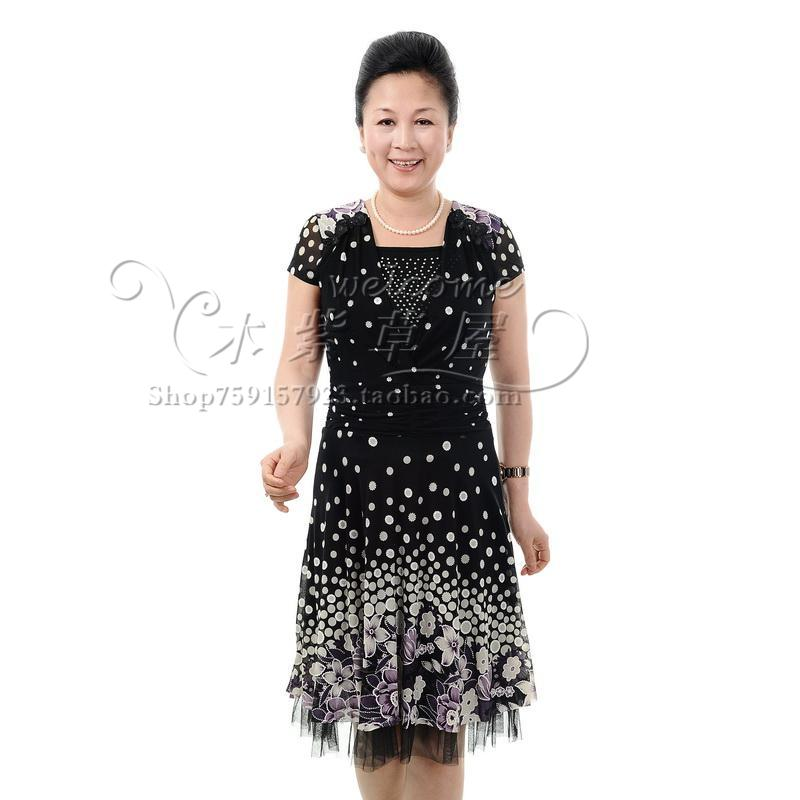 New arrival 2012 top quinquagenarian women's summer one-piece dress middle-age women short-sleeve mother clothing(China (Mainland))