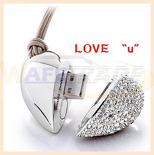 Free shipping Wholesale full capacity Genuine 8GB/16GB Mini usb Crystal heart shaped usb drive fashion girl gift usb flash drive