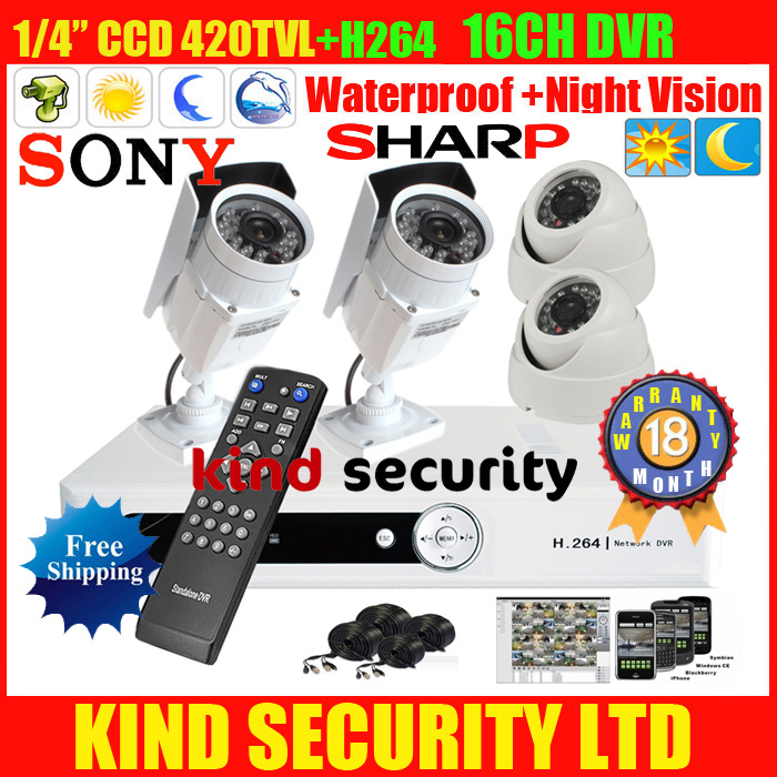 4 ch h264 D1 channel CCTV Security DVR with 2outdoor 2 indoor IR night vision camera system sharp1/4 CCD 420TVl(China (Mainland))
