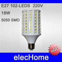 20W 2000LM Brightful 102 SMD 5050 LED E27 LED Corn Light candle lamp AC 210-240V 220V 230V 240V White Warm Free Shipping