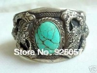 Men's tibet silver inlay turquoise cuff bracelet Fashion jewelry