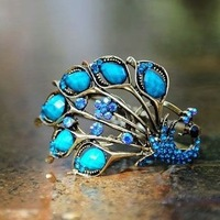 C24 Beautiful Peacoke and Alloy Bangle Bracelet,2013 New Arrival For Women Wholesale Factory Price