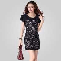 Free Shipping! Large size women's new summer 2014 Korean version of the Slim was thin lace Puff Sleeve Black  Dress