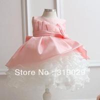 Girl wedding dress Ball gown Baby wear Flower Full dress Patchwork Children clothing USA yarn High quality