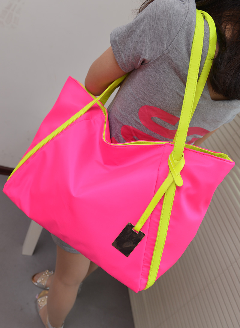 2013 cool neon color block candy one shoulder big bags casual shopping bag beach women's handbag(China (Mainland))