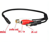 Mini Mic Audio Microphone Cable for CCTV Security Camera Mic With Power Cable 10/pcs