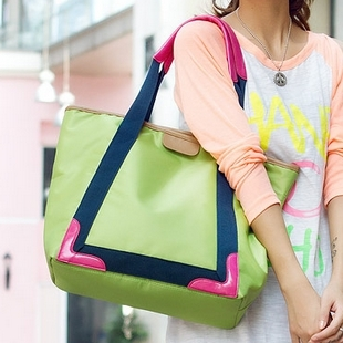 Canvas bag female neon green color block handbag casual big bag canvas shopping bag candy color bags(China (Mainland))