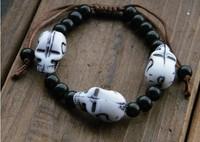 fashion acrylic skull head with black beads wrap bracelet male female strand bracelet jewelry