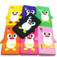 1 pcs Cute 3D Penguin silicone back case cover for LG OPTIMUS L5 E610 E612