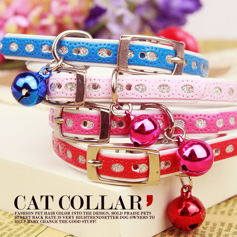Pet dog accessories dog collar PU material belt bell collar dog cat general chaplains color(China (Mainland))