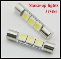 Wholesale10pcs/lot 12V 31mm Sun Visor Vanity Mirror 5050 3-SMD LED light bulbs Festoon light white