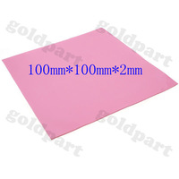 Free shipping (2 pieces/lot) Red 100mmx100mmx2mm GPU CPU Heatsink Cooling Thermal Conductive Silicone Pad