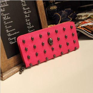 Free Shipping Restoring Ancient Punk Wind Female Long Wallet Candy Color Skull Card Purse Womnes Fashionable Handbag wallet(China (Mainland))